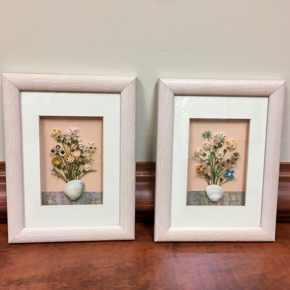 Vintage Other - Artist Signed Floral Shell Quilled Art Shadow Box